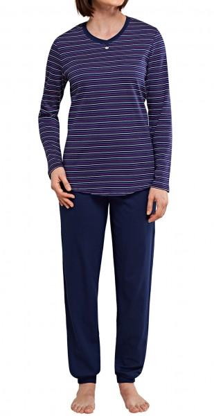 Seitensticker Damen Schlafanzug lang Interlock
